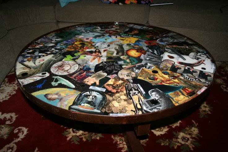 DIY Epoxy photo collage coffee table