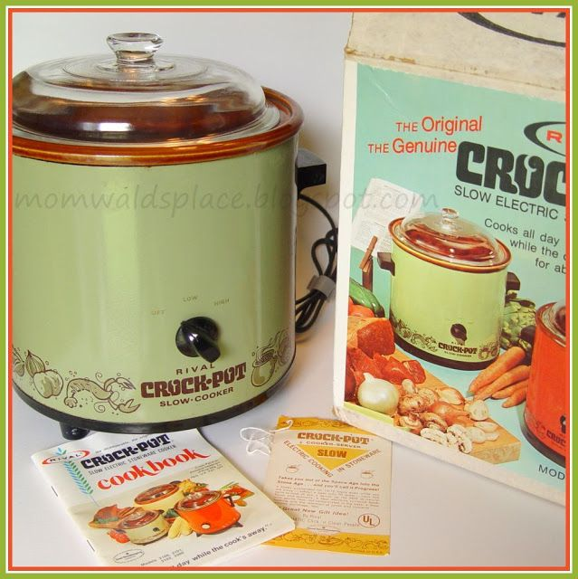 The original 1971 Crock-Pot by rival.  Slow cookers achieved popularity in the US during the 1970s when many women began to work outside the home.