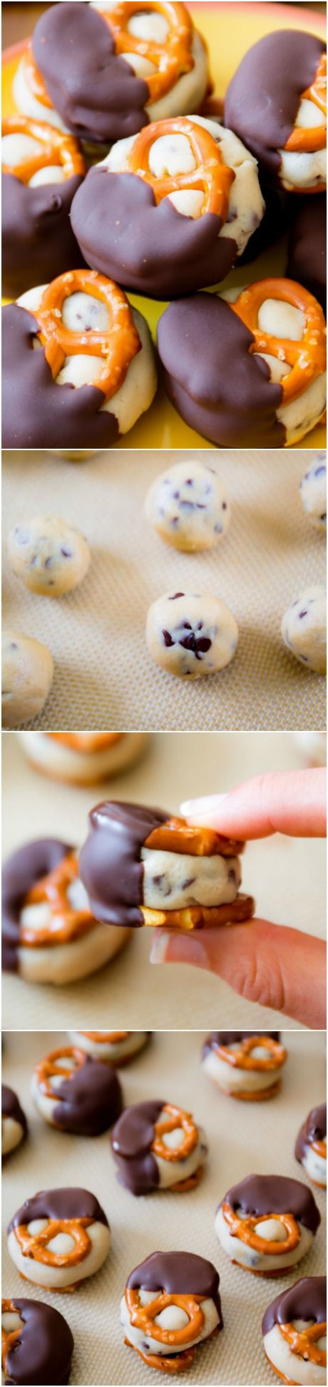 Cookie Dough Pretzel Bites. Addicting and so easy! Recipe found on sallysbakingaddiction.com