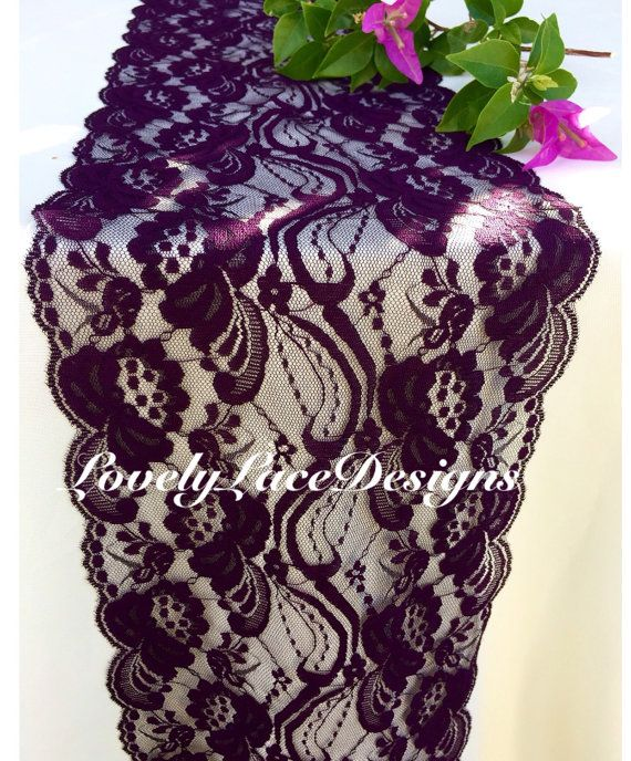 "PLUM Lace Table Runner/3ft-10ft x 7"" Wide/Wedding Table Runner/Wedding Decor/ Lace Overlay/Tabletop Decor/Autumn/etsy finds"