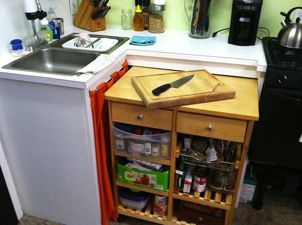 The cart you see below is multi functional because you can roll it out for extra countertop - Small kitchen no counter space model ...