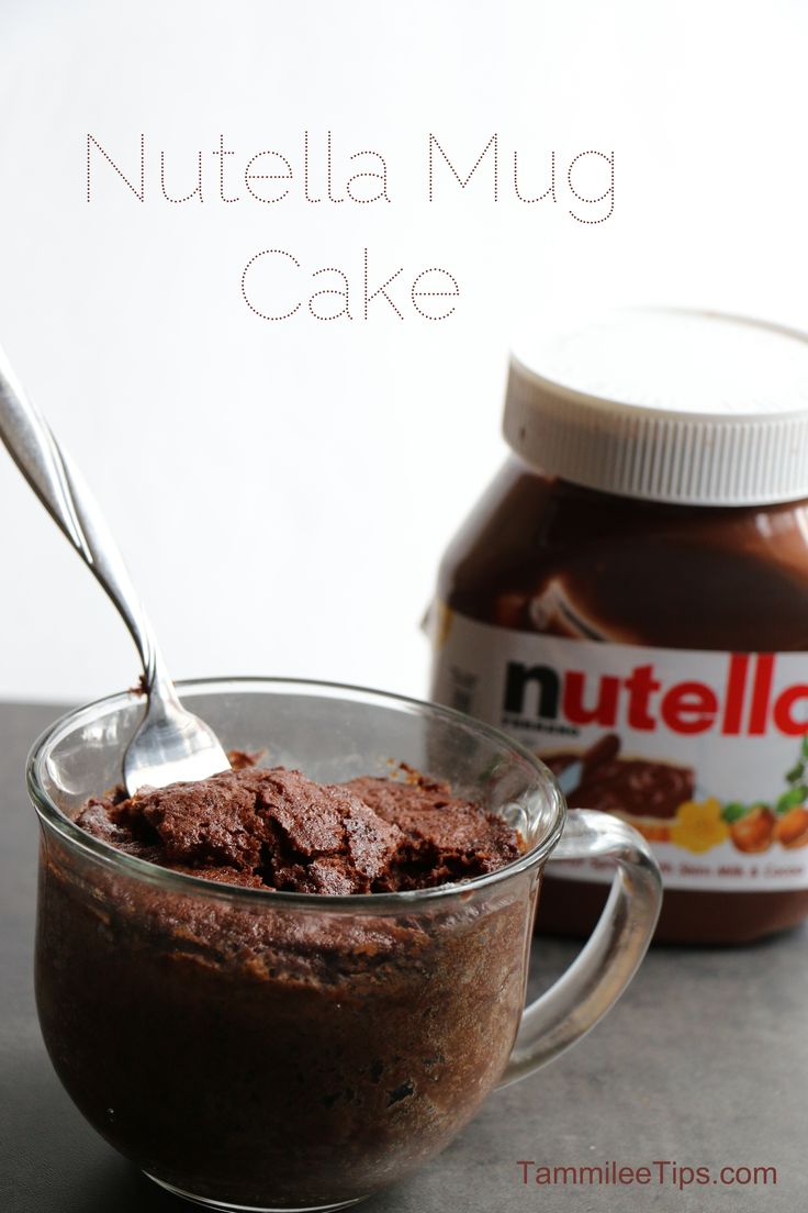 "Nutella Mug Cake Recipe | Ate this tonight and it was AWESOME. We were out of milk, so I had to search for ""no milk"" or ""dairy-free"" microwavable mug cake."