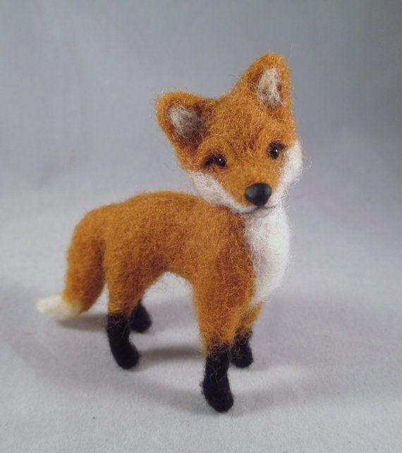 Needle Felted Fox  Felted Animal Fiber Sculpture by FlomopStudio. Gorgeous!