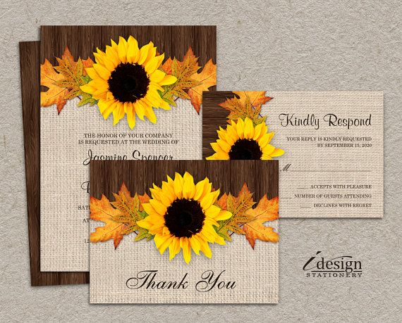 Cheap Sunflower Wedding Invitations: DIY Rustic Fall Sunflower Wedding Invitation Set With RSVP