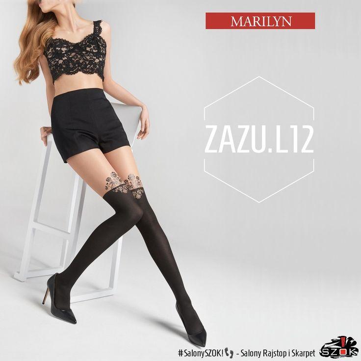 """🔴 #Zazu L12 firmy #Marilyn to #rajstopy a'la #pończochy z #przepięknym zdobieniem w części przechodniej. Idealnie sprawdzą się w przypadku """"małej czarnej"""" Serdecznie Polecamy ➡️ #SalonySZOK!👣 💯📛"""