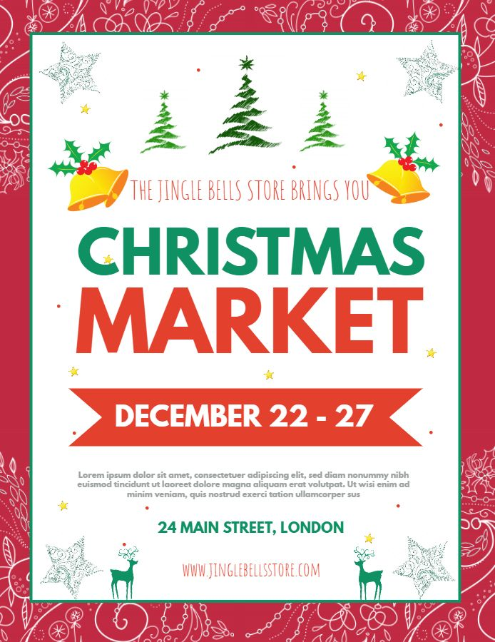 Christmas Flyer.Christmas Market Advertisement Poster Flyer Template