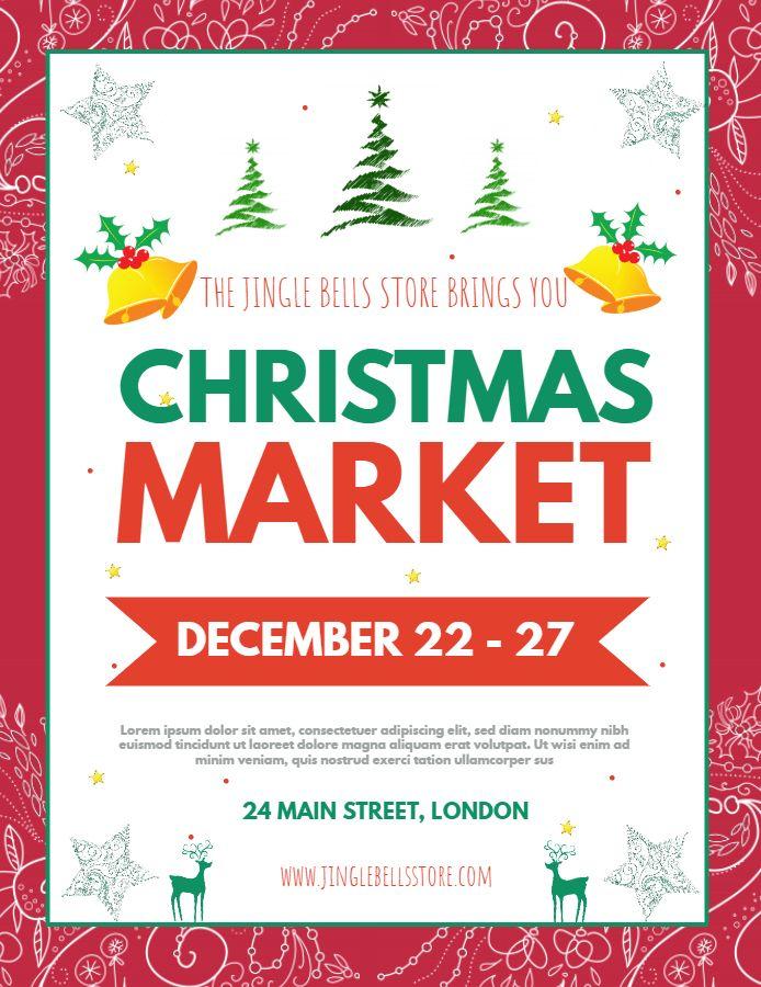 christmas market advertisement poster  flyer template
