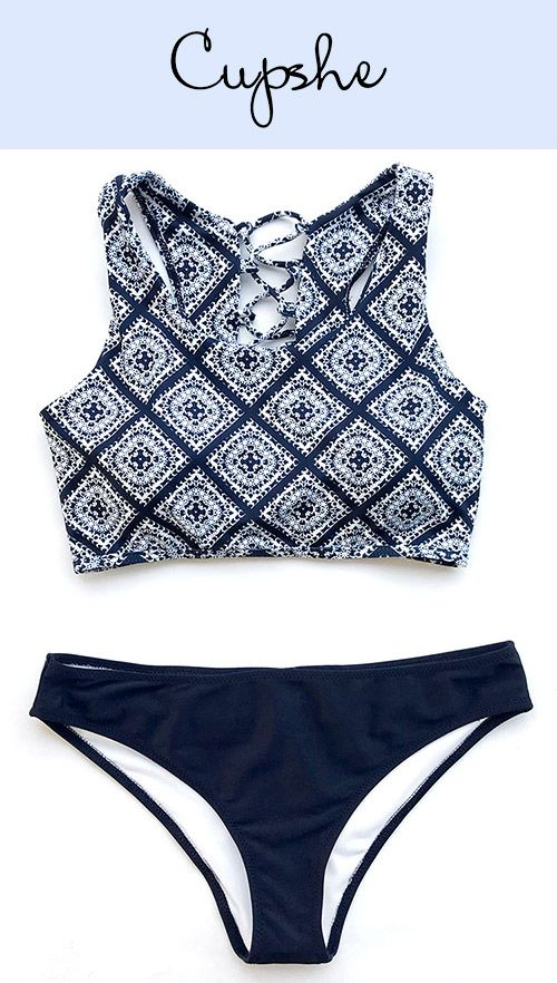New Arrivals! Cupshe Ancient Story Tank Bikini Set features ethnic prints and hot lace-up design. Now Cupshe storewide sale is going! Get larger discount when shop more! Free shipping & Check it out!
