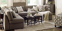 Great Sectional For Basement...Stools could also be helpful, especially if they could be used for storage, as well - Bassett Furniture