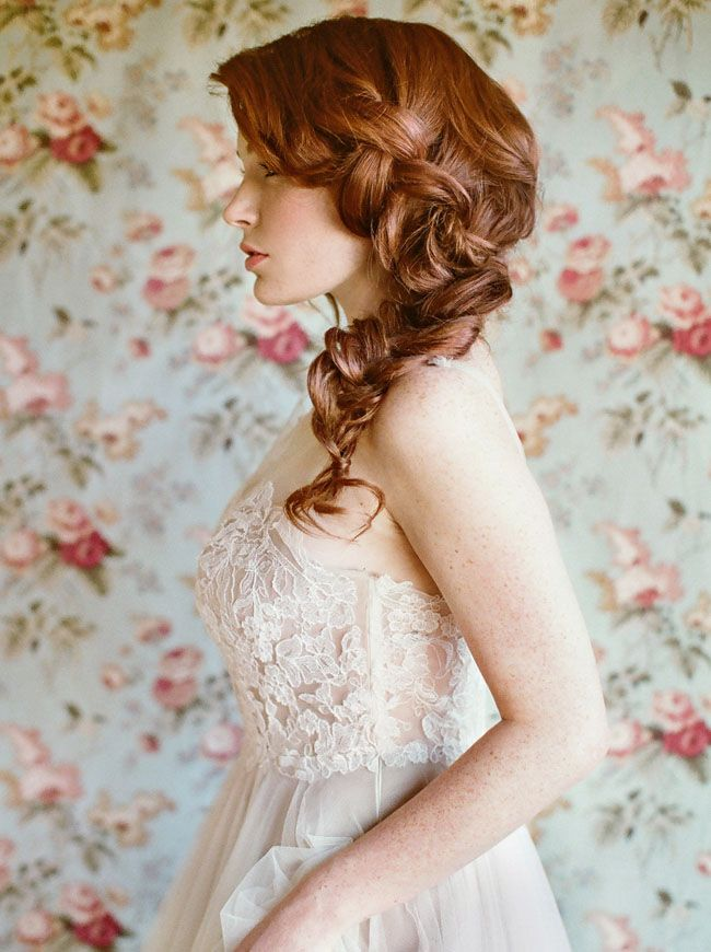 Bridal - loose, big messy side braid - Hair by KC Whitcamp - Southern California
