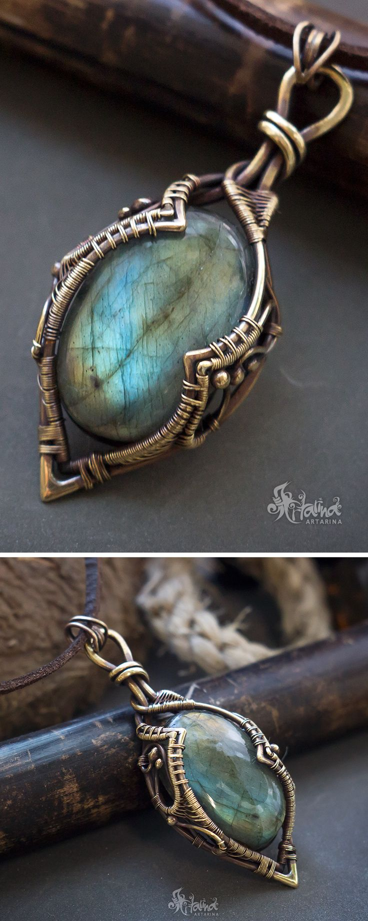 Wire wrapped stone // Wire wrap labradorite necklace