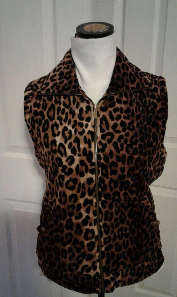 Jones NY Signature Leopard Pattern Tan & Black Sleeveless Jacket, Vest Sz L   | eBay