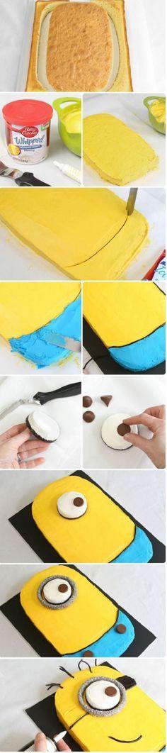 Torta de Mi Villano Favorito. Esta torta es el resultado de una idea genial que se ejecutó casi a la perfección, se trata de una torta de Mi Villano Favorita (Despicable Me, título en inglés) y que se ha realizado de forma bastante práctica sólo utilizando un molde rectangular. http://wp.me/p1ytFq-Ko