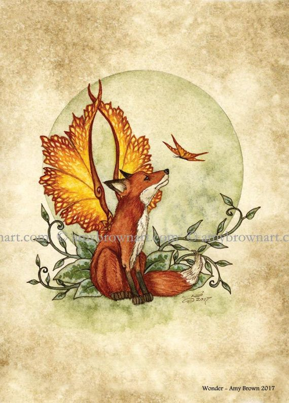 5x7 Fox Fairy and butterfly PRINT by Amy Brown