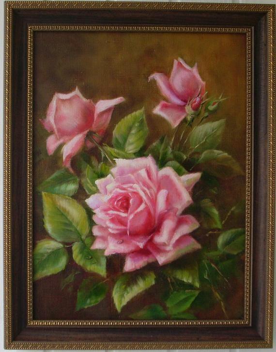 Peinture à l'huile de roses toile 30 x 40
