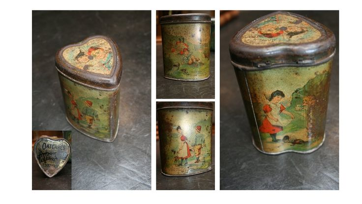 HEART SHAPED NURSERY RHYMES BISCUIT TIN Antique McVities and Price ' Nursery ' biscuit tin circa early 1900s. Heart-shaped biscuit tin with lid to top and lithographed with scenes from Jack and Jill. Please note this tin is in used condition but still very rare and decorative. From Angell Antiques