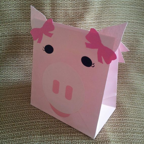 Pink Girl Pig Treat Sacks  Farm Ballerina Barnyard by jettabees