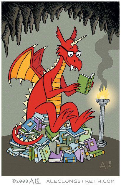 Alec Longstreth Illustration Blog: Dragon reading on a pile of books