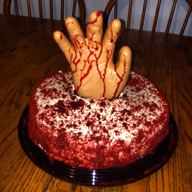 Red Velvet Cake Bought From Costco. Cut Hole In The Center. Fake Hand From