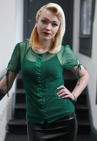 £8.00-90's Vintage Green Punk Grunge power mesh Spotted Blous