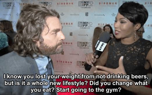 …you can expect this kind of response. | Zach Galifanakis Has The Perfect Response To A Comment On His Weight Loss