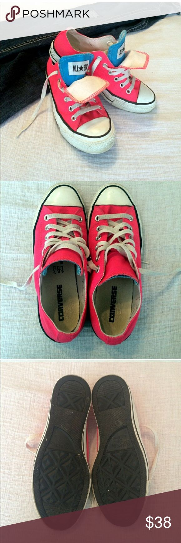 Converse Neon Pink & Blue Low top sneakers ??Look at these bright neon colors ??These are in great condition! They have only been worn a handful of times. They just need a little cleaning and they would look new! Bright pink shoes with turquoise tongues.   Size 7 in Women's and 5 in men's. Converse Shoes Sneakers