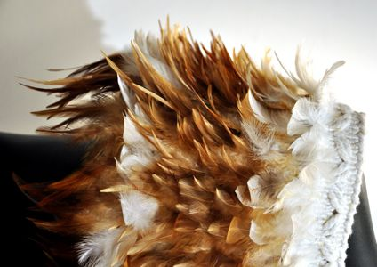 Shoulder Cape (closed) feathers, string 910 x 260mm NZD $960.00 3