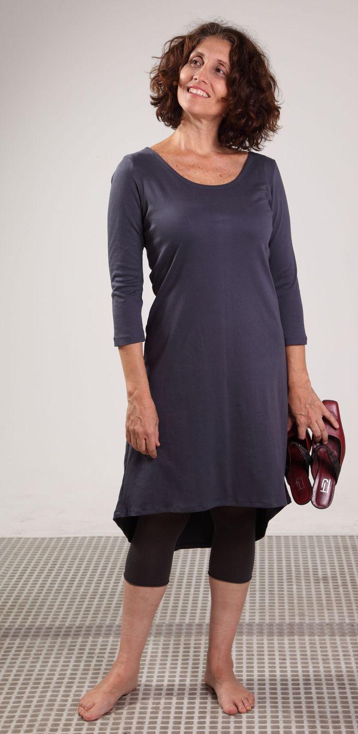 Vestido en Algodón Pima, color plomo, diseño brujagorda