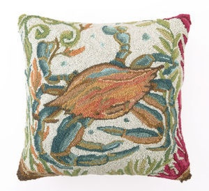 crab sealife wool hooked pillow - love the colors!
