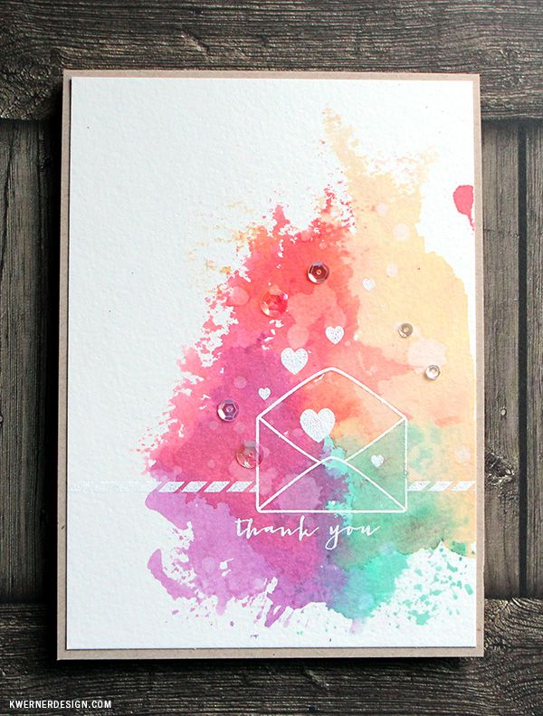 """Colorful Ink """"Smooshing"""" Thank You Card: interesting smooth technique, plus how to rig a 5x7 top folded card."""