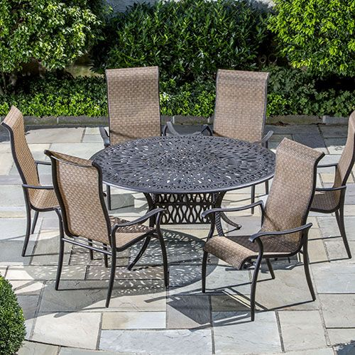 Alfresco Home Charter Cast Aluminum Dining Set   Seats 6  Only  2 219 00  FREE Shipping 215 best Patio Furniture images on Pinterest   Outdoor cushions  . Outdoor Dining Chairs Only. Home Design Ideas