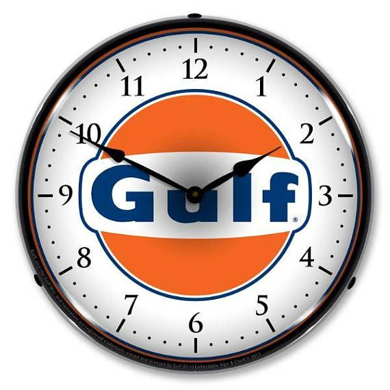Antique Style Gulf Backlit Clock 129 99 Wall Clock Light Vintage Clock Man Cave Lighting