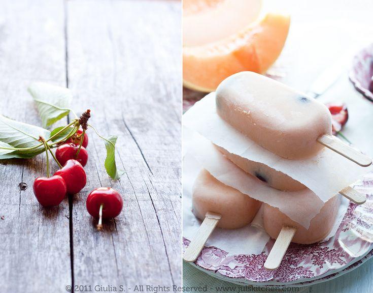 Cantaloupe & Cherry Popsicles | i cook - ice cream | Pinterest