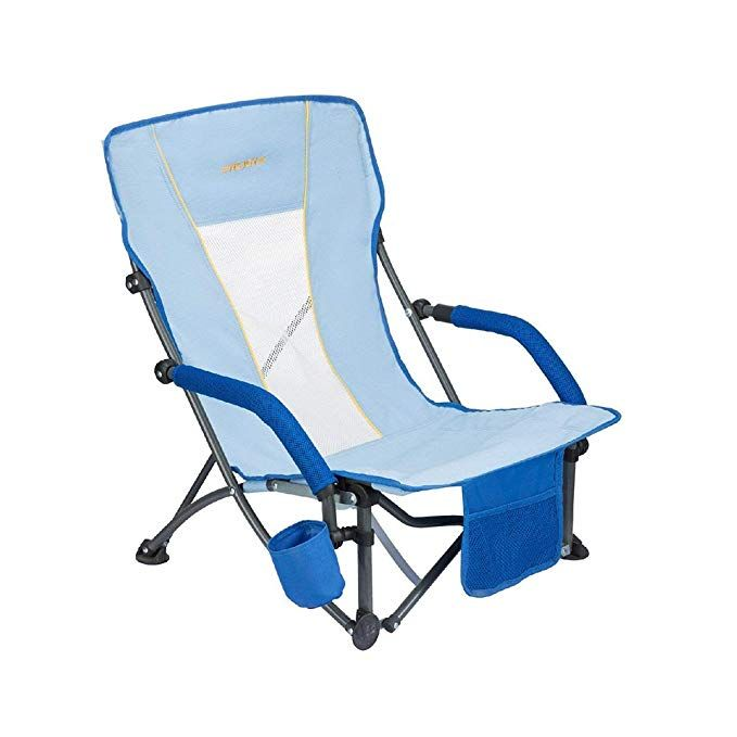 Wejoy Beach Chair Low Sling Folding Lounge Cooler Chair Mesh Back Lightweight Portable Steel Frame Strong Stabl Folding Beach Chair Cooler Chairs Beach Chairs