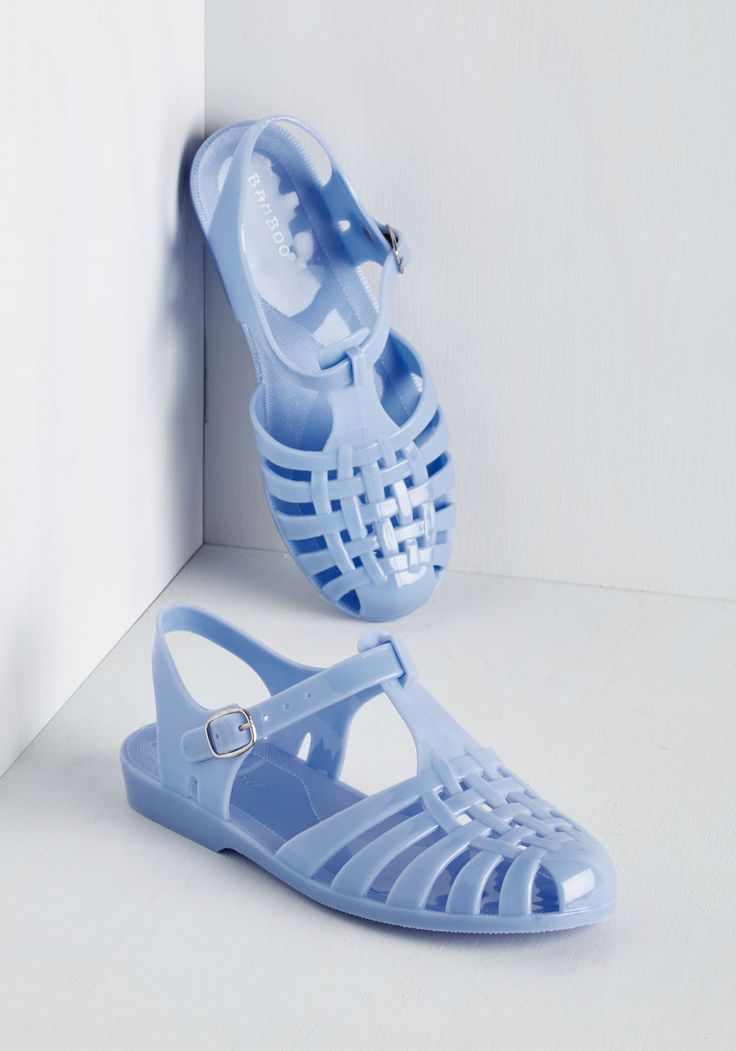 Jelly or Not Sandal. Here you come, and youre wearing this darling pair of periwinkle sandals! #blue #modcloth: