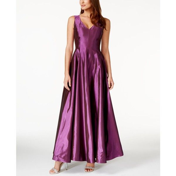 B Michael Sleeveless A-Line Gown ($550) ❤ liked on Polyvore featuring dresses, gowns, purple, sleeveless dress, a line ball gown, evening ball gowns, purple ball gowns and ball dresses
