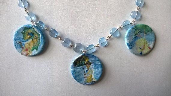 Hand Painted Necklace Beads Abstract Painted by PeculiarBoutique