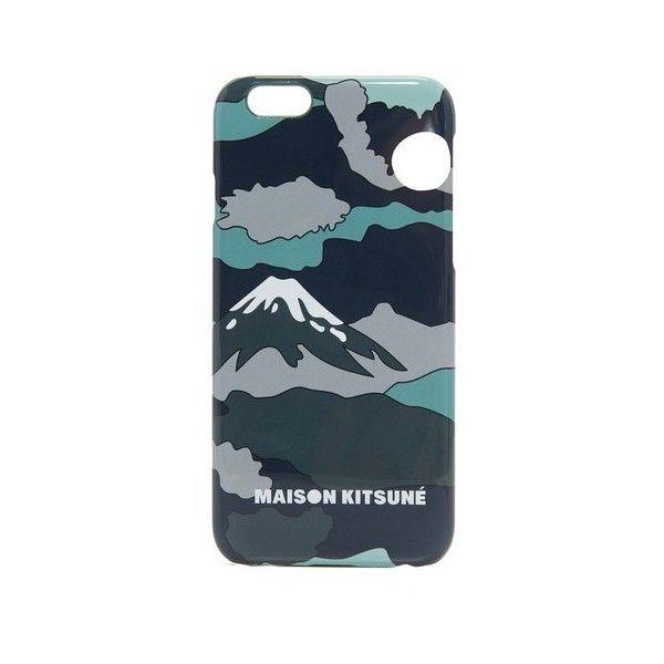 Maison Kitsune Landscape iPhone 6 / 6s Case (110 BRL) ❤ liked on Polyvore featuring men's fashion, men's accessories, men's tech accessories and khaki