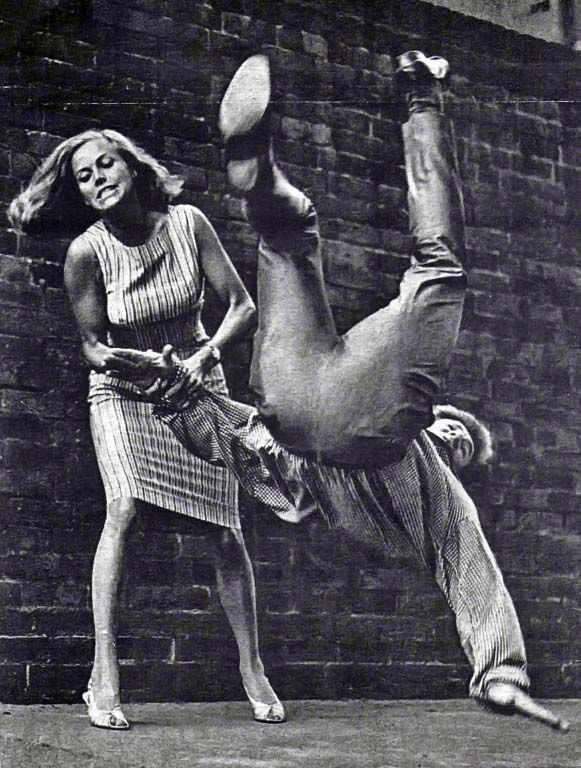 Honor Blackman is pictured doing a throw. She is a British actress who actually trained in judo. She is best known for playing Cathy Gale in the TV series The Avengers and for playing Bond girl Pussy Galore in Goldfinger (the oldest Bond girl, at 38). She did her own fight scenes in her movies, which relied heavily on her real life judo training.