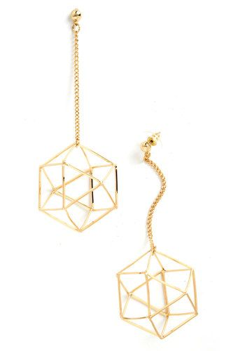 Along Came Polyhedron Earrings, #ModCloth