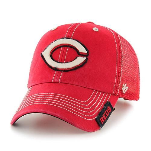Cincinnati Reds '47 Brand Turner Clean Up. This relaxed fit Reds hat is made from cotton twill garment washed front panels with raised embroidered Reds frayed logos. With the frayed edges and garment