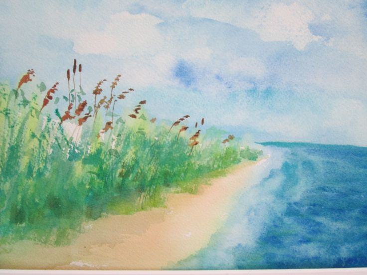 original watercolor on paper beach walk Colors: rich blues, greens, neutrals Dimensions: 8x10 painting with border for mat standard size Paper: Aqvarelle Arches Cold Pressed 100% Cotton 140 Lbs *mat shown is for display only and not included Copyright 2014. All Rights Reserved.