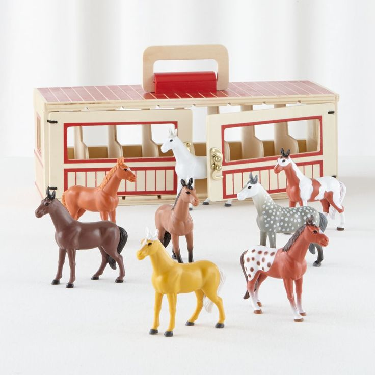 Even if your playroom is small, it doesn't have to be a one-horse playroom. Just add this portable wooden stable. It features eight toy horses, a list of activities and breed guide, so there's always plenty to do.