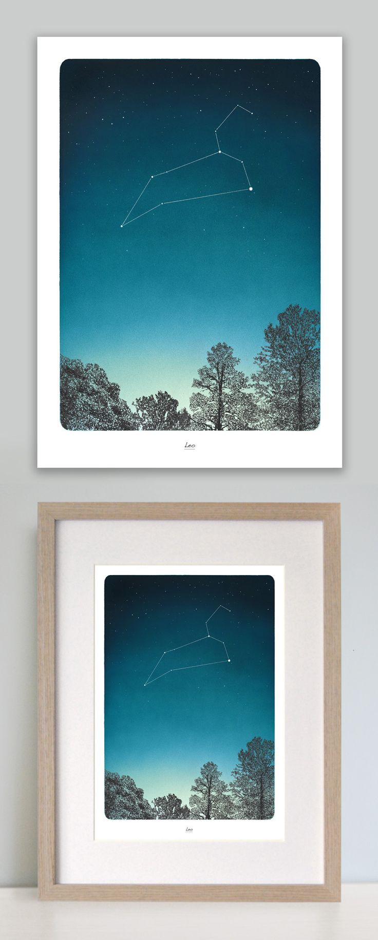 This beautiful zodiac art print depicting Leo star constellation in the night sky is the perfect birthday gift. Printed onto a high quality heavy weight soft textured matt fine art paper. Along with your celestial art print you will receive an additional A4 print explaining all you need to know about the star sign and the constellation. The Leo Star sign is between July 23 – August 22   www.leemorris.org.uk