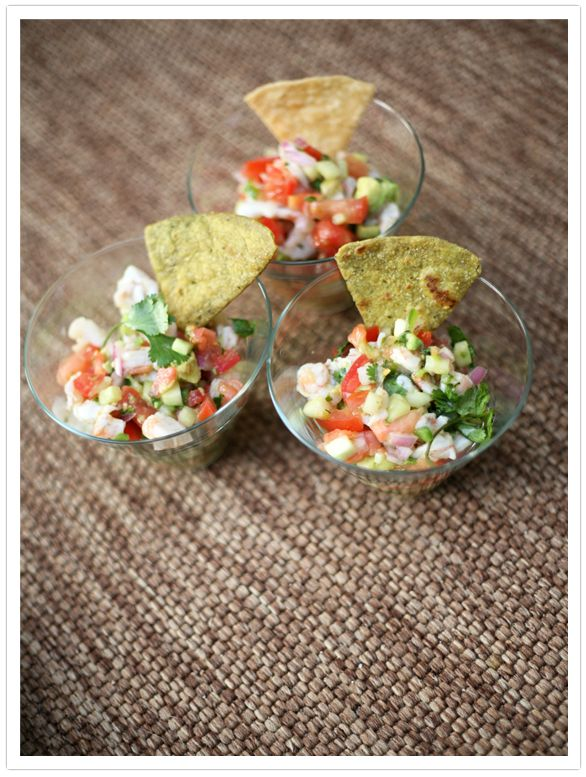 Shrimp Ceviche.  I would probably add a little clamato juice and some hot sauce to give it a little flare with the acidity.  Plus, I would use a mixture of fishes, not just shrimp.