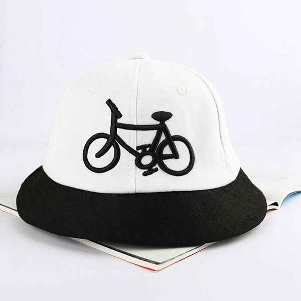 Unisex Women Bicycle Pattern Canvas Collapsible Bucket Cap Retro Dome Fisherman Sunscreen Hat at Banggood