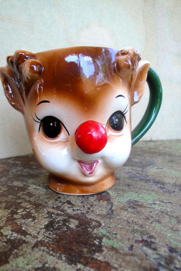 Vintage Lefton Rudolph Deer Red Nose Mug Cup Teacup