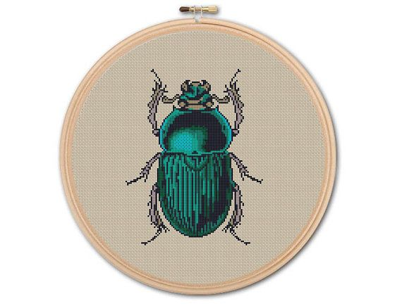 Green Beetle, Counted Cross stitch, Pattern PDF, Cross Stitch Chart , Cute Cross Stitch, Cross stitch pattern, Instant download, 0167