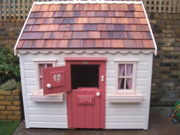 This one's a bit fancy for my taste but the concept is great. It's half- epth and designed to stand against a wall. A lean-to wendy house!