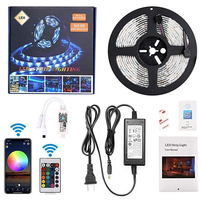 Led Light Strip Compatible With Alexa Google Home Ifttt Wifi Wireless Smart Phone Controlled 5m 16 4f Led Strip Lighting Rgb Led Strip Lights Rgb Led Lights